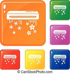 Air conditioner icons set vector color