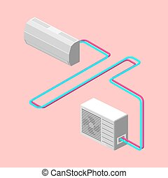 Air conditioner isometric vector illustration