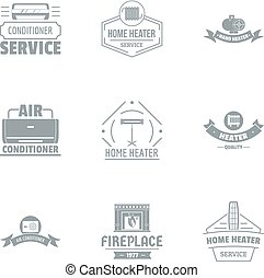 Air conditioner logo set, simple style