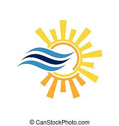 Air conditioner logo sign symbol. Hot and cold symbol.