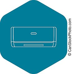 Air conditioner machine icon, outline style - Air...