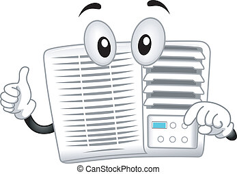 Air-conditioner Mascot - Mascot Illustration Featuring an...