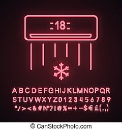 Air conditioner neon light icon