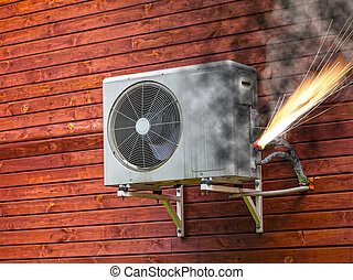 Air conditioner on fire