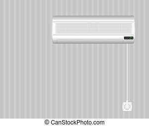 air conditioner on wall - Air conditioner on grey wall....