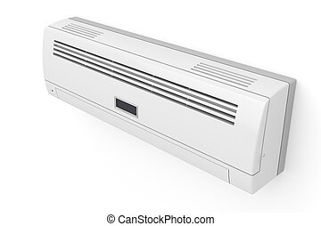 Air conditioner on white wall