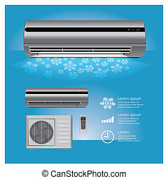 Air Conditioner Realistic and Remote Control with Cold air Symbols Vector Illustration