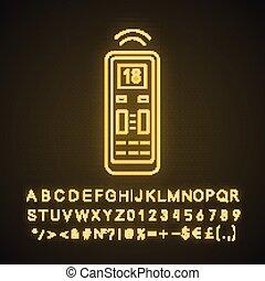 Air conditioner remote control neon light icon