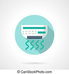 Air conditioner round flat color vector icon