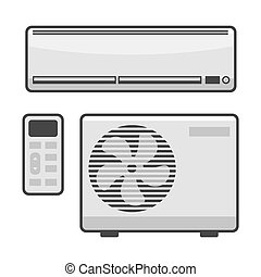 Air Conditioner Set on White Background. Vector