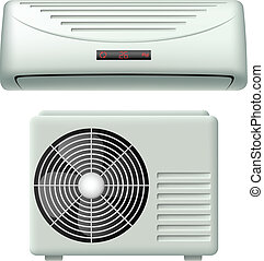 Air conditioner set with interior and exterior element