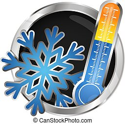 Air conditioner symbol - Snowflake and thermometer symbol...