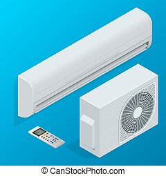 Air conditioner system set isolated on background. Flat 3d...
