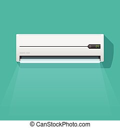 Air conditioner vector illustration isolated on green color background