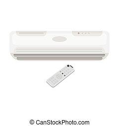 Air conditioner with remote control icon in monochrome style...
