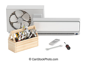Air conditioner with toolbox and tools. Repair and tech support concept, 3D rendering