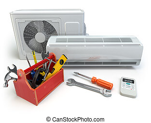 Air conditioner with toolbox and tools. Repair of air-conditioner concept.