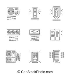 Air conditioners line flat vector icons set