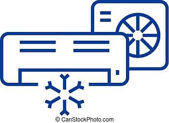 Air conditioner,split system line icon concept. Air...