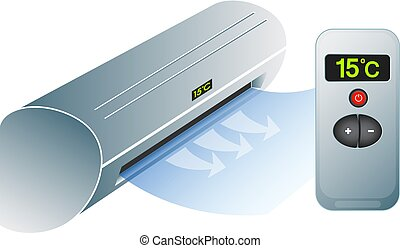 Air conditioning for home and remote control symbol