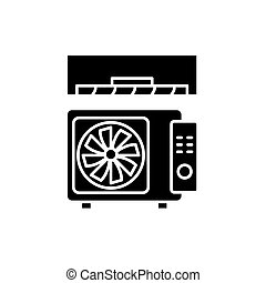 Air conditioning black icon, vector sign on isolated background. Air conditioning concept symbol, illustration