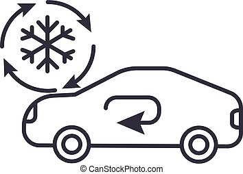 air conditioning, car service vector line icon, sign, illustration on background, editable strokes