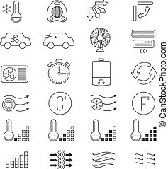 Air conditioning, cooling vector thin line icons