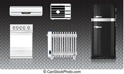 Air conditioning, electric oil radiator, refrigerator with retro design, gas stove. Home electrical appliances. Set icons of household appliances on transparent background. 3D illustration