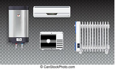 Air conditioning, electric oil radiator, water heater with chrome metal of front side, oil filled heater isolated. Set icons of household appliances on transparent background. 3D illustration.