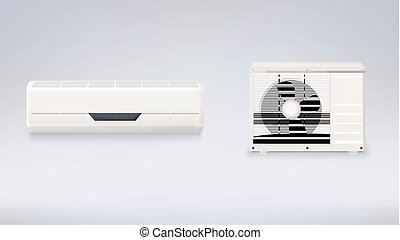 Air conditioning, electronic appliance to clean, freshen and circulate air white color indoor and outdoor units.