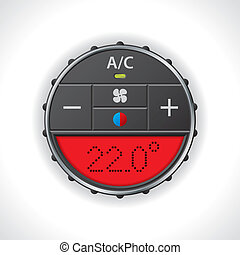 Air conditioning gauge with red display - Air conditioning...