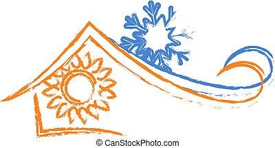 Air Conditioning House - Air conditioning house silhouette...