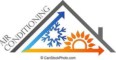 Air conditioning house roof symbol - Air conditioning blue...