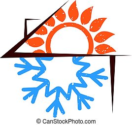 Air conditioning house silhouette