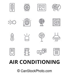 Air conditioning, hvac, coolling, heating, refrigerator, thermostat, thermometer line icons. Editable strokes. Flat design vector illustration symbol concept. Linear signs isolated