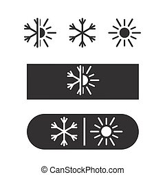 Air conditioning icon, nature logo, cold and warm. Winter...