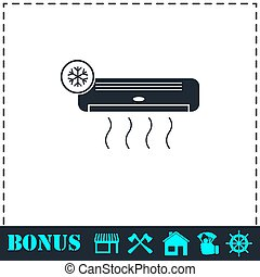 Air conditioning icon flat