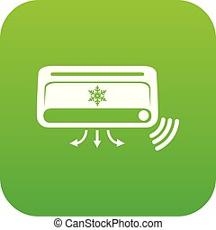 Air conditioning icon green vector