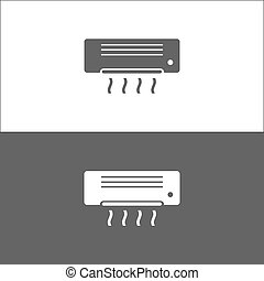 Air conditioning icon on black and white background