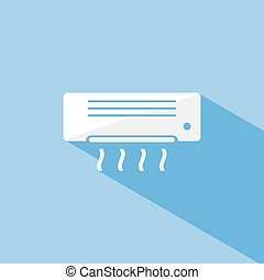 Air conditioning icon with shade on blue background