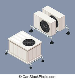 Air conditioning in isometric style on a colored background....