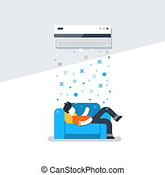 Air conditioning linear logo and icon - Home air...
