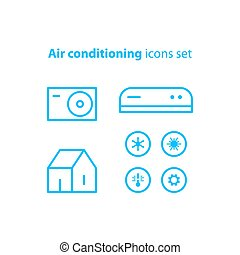 Air conditioning linear logo and icons - Ductless cooling...