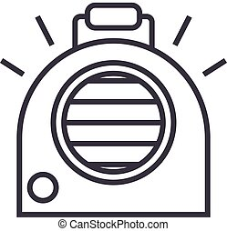 air conditioning, portable heater vector line icon, sign, illustration on background, editable strokes