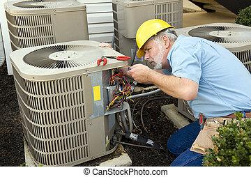 Air Conditioning Repairman - Horizontal shot of an air...