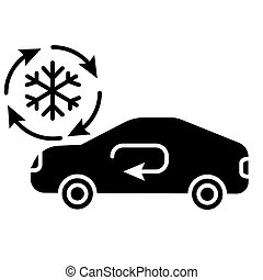 air conditioning service - car icon, vector illustration, black sign on isolated background