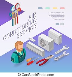Air conditioning service. Isometric concept. Worker, equipment.