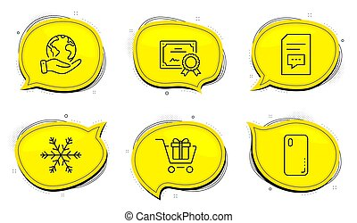 Air conditioning, Shopping cart and Smartphone cover icons set. Comments sign. Snowflake, Gift box, Phone. Vector