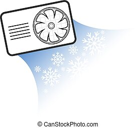 Air conditioning silhouette - Air conditioner with fan...