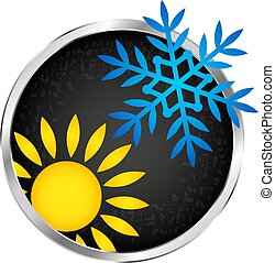 Air conditioning sun and snowflake in a circle symbol